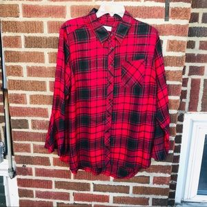 Two by Vince Camuto Plaid Flannel Top Bell Sleeves